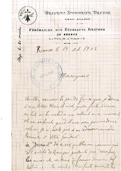Lettre de Léon Le Berre, dit Abalor, à Mgr Dubillard, évêque de Quimper et Léon