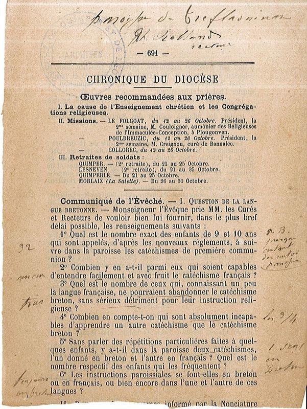 Enquête diocésaine sur l'usage du breton dans les prédications et l'enseignement du catéchisme : réponse de Tréflaouénan