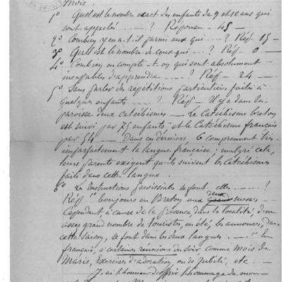 Enquête diocésaine sur l'usage du breton dans la prédication et l'enseignement du catéchisme : réponse du doyenné du Huelgoat à l'évêque de Quimper et Léon.