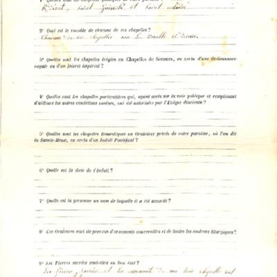 Enquête sur les chapelles : réponse de la paroisse d'Ergué Gabéric