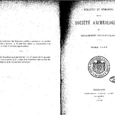 Texte de l'abbé Duine, extrait du Bulletin et mémoires de la Société archéologique du département d'Ille et Vilaine, tome XXXV, 1906.