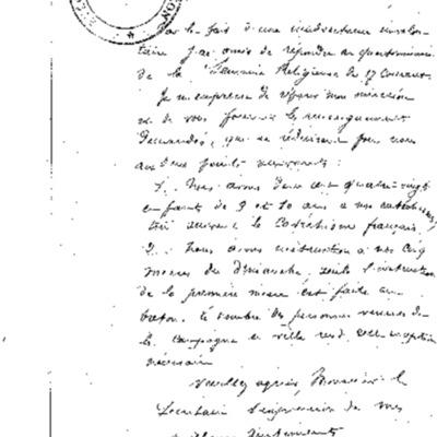 Enquête diocésaine sur l'usage du breton dans la prédication et l'enseignement du catéchisme : réponse du doyenné de Concarneau à l'évêque de Quimper et Léon.