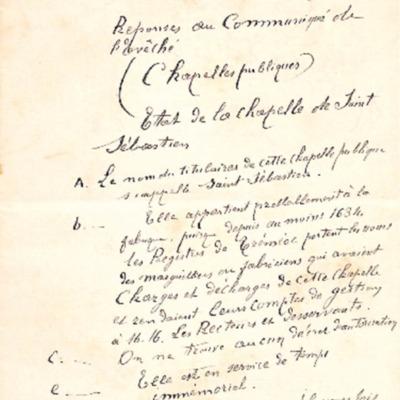 Enquête sur les chapelles : réponse de la paroisse de Tréméoc