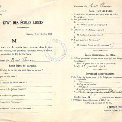 Enquête sur les écoles (1903) : réponse de la paroisse de Saint-Thonan