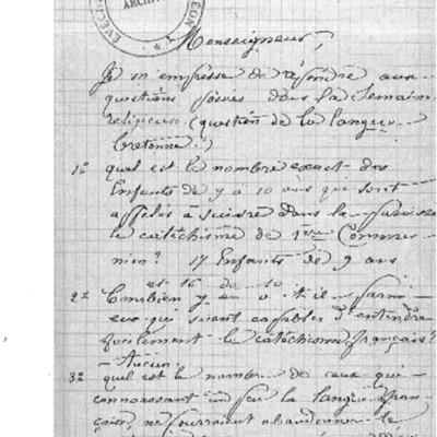 Enquête diocésaine sur l'usage du breton dans la prédication et l'enseignement du catéchisme : réponse du doyenné de Daoulas à l'évêque de Quimper et Léon.