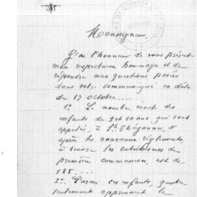 Enquête diocésaine sur l'usage du breton dans la prédication et l'enseignement du catéchisme : réponse du doyenné de Saint-Thégonnec à l'évêque de Quimper et Léon.