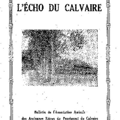 L'Echo du Calvaire : bulletin de l'Association amicale des anciens élèves du Calvaire de Landerneau 1938