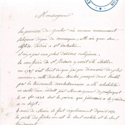 Enquête diocésaine sur le culte marial de 1856 : réponse de la paroisse de Guilers