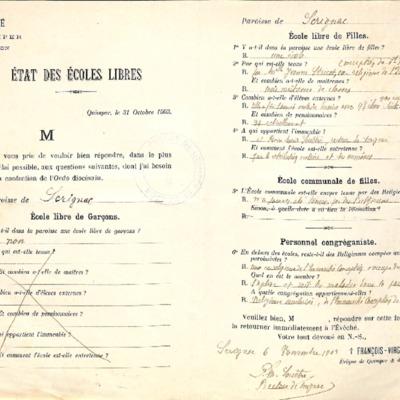 Enquête sur les écoles (1903) : réponse de la paroisse de Scrignac