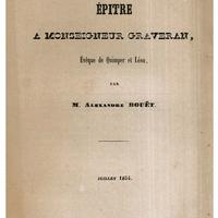 Épître à Monseigneur Graveran évêque de Quimper et Léon