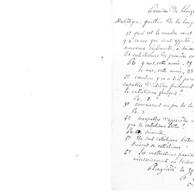 Enquête diocésaine sur l'usage du breton dans la prédication et l'enseignement du catéchisme : réponse du doyenné de Plouzévédé à l'évêque de Quimper et Léon.