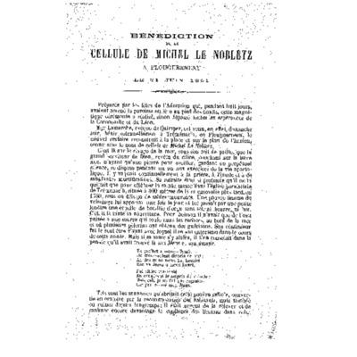 Bénédiction de la cellule de Michel Le Nobletz à Plouguerneau le 21 juin 1891