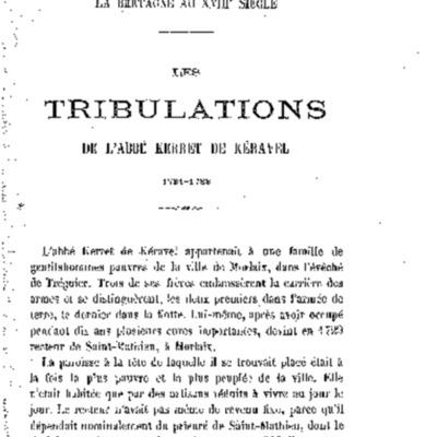 Les tribulations de l'Abbé Kerret de Kéravel 1731-1733