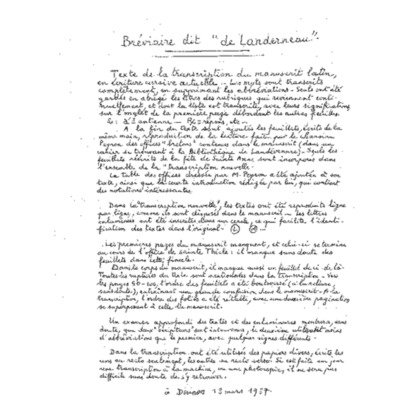 Transcription manuscrite du Bréviaire de Landerneau