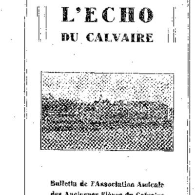 L'Echo du Calvaire : bulletin de l'Association amicale des anciens élèves du Calvaire de Landerneau 1933