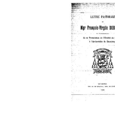 Lettre pastorale de Mgr François-Virgile Dubillard à l'occasion de sa Translation de l'évêché de Quimper à l'Archevêché de Chambéry