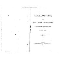 Bulletin diocésain d'histoire et d'archéologie Table