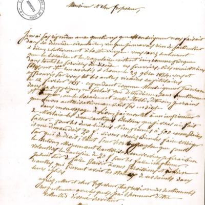 Enquête diocésaine sur le culte marial de 1856 : réponse de la paroisse d'Esquibien