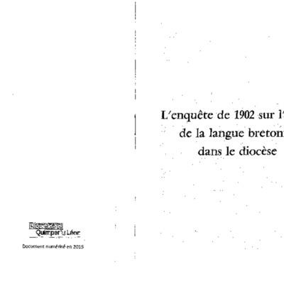 L'enquête de 1902 sur l'usage de la langue bretonne dans le diocèse