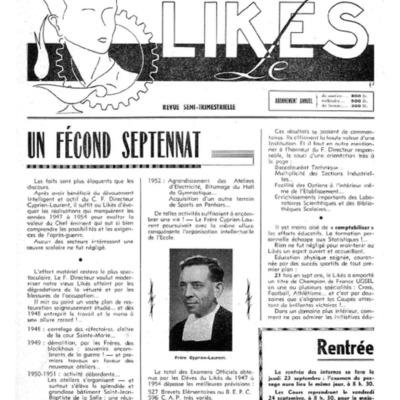 Le Likès revue semi-trimestrielle de l'amicale et des élèves du Likès 1954-1955