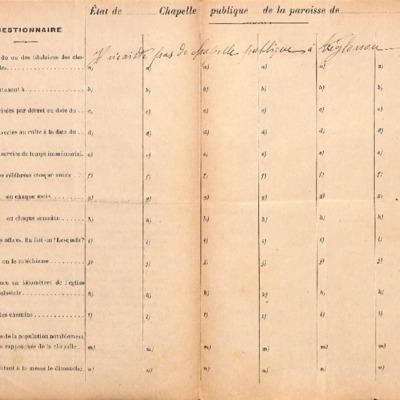 Enquête sur les chapelles : réponse de la paroisse de Tréglonou