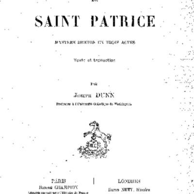 La vie de saint Patrice : mystère breton en trois actes