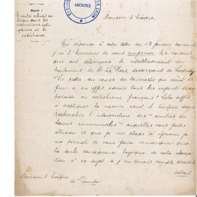 Sanction de la préfecture sur l'emploi abusif du breton dans les instructions religieuses et le catéchisme