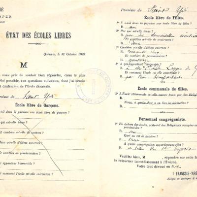 Enquête sur les écoles (1903) : réponse de la paroisse de Saint-Yvi