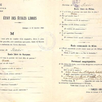 Enquête sur les écoles (1903) : réponse de la paroisse de Scaër