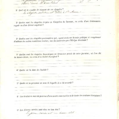 Enquête sur les chapelles : réponse de la paroisse de Gouesnou