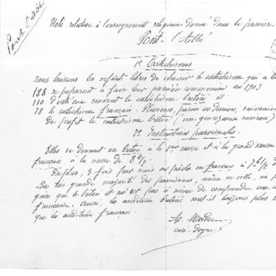 Enquête diocésaine sur l'usage du breton dans la prédication et l'enseignement du catéchisme : réponse du doyenné de Pont-L'Abbé à l'évêque de Quimper et Léon.