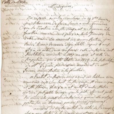 Enquête diocésaine sur le culte marial de 1856 : réponse de la paroisse de la Feuillée