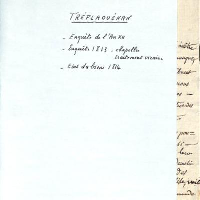 Enquête sur la paroisse de Treflaouénan sous l'Empire