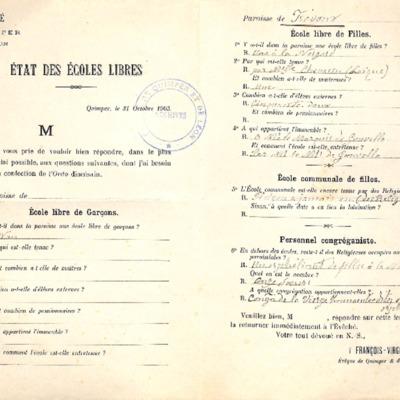 Enquête diocésaine sur les écoles (1903) : réponse de la paroisse du Trevoux