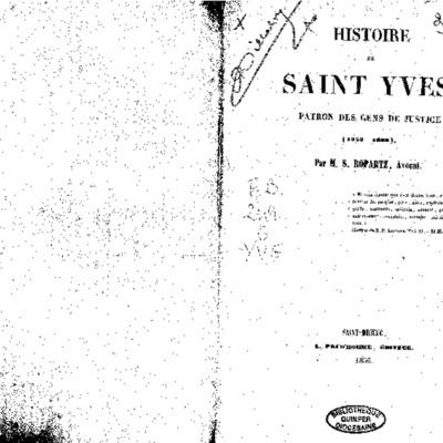 Histoire de Saint Yves : Patron des gens de justice (1253-1303)
