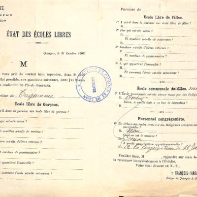 Enquête diocésaine sur les écoles (1903) : réponse de la paroisse de Tréguennec