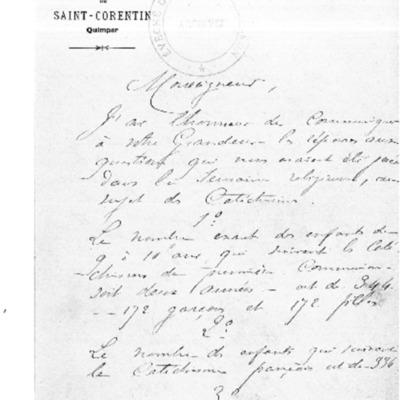 Enquête diocésaine sur l'usage du breton dans la prédication et l'enseignement du catéchisme : réponse du doyenné de Quimper à l'évêque de Quimper et Léon.