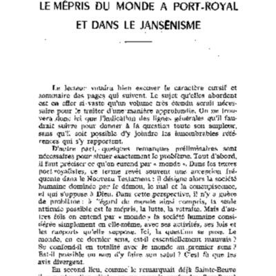 Le mépris du Monde à Port-Royal et dans le jansénisme