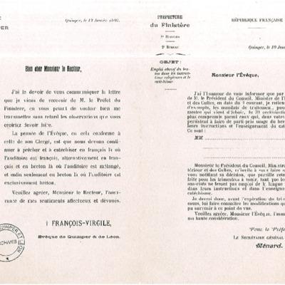 Lettre de Mgr Dubillard à son clergé transférant une lettre du Préfet du Finistère concernant la suppression de traitements de certains prêtres en raison de l'usage abusif du breton