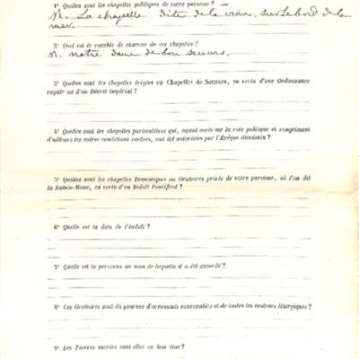 Enquête sur les chapelles : réponse de la paroisse de Concarneau