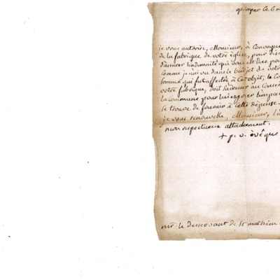 Lettre au desservant de l'église Saint-Mathieu de Quimper