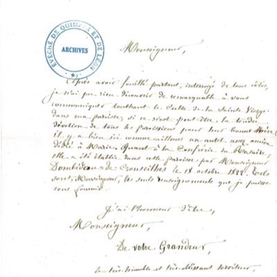 Enquête diocésaine sur le culte marial de 1856 : réponse de la paroisse de Goulven