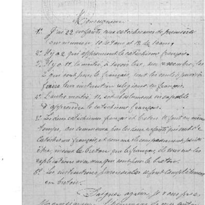 Enquête diocésaine sur l'usage du breton dans la prédication et l'enseignement du catéchisme : réponse du doyenné de Morlaix à l'évêque de Quimper et Léon.