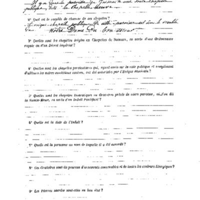 Enquête sur les chapelles : réponse de la paroisse de Gouesnac'h