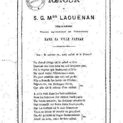 Retour de S. G. Mgr Laouënan évêque de Flaviopolis vicaire apostolique de Pondichéry dans sa ville natale