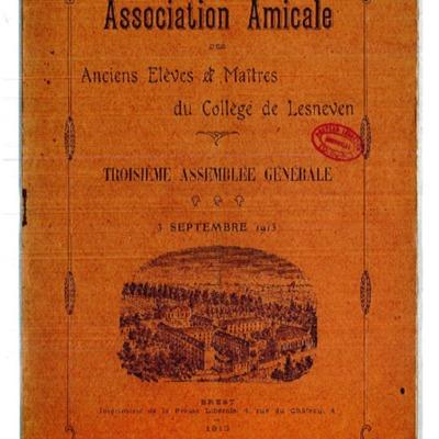 Association amicale des anciens élèves et maîtres du collège de Lesneven : troisième assemblée générale, 3 septembre 1913