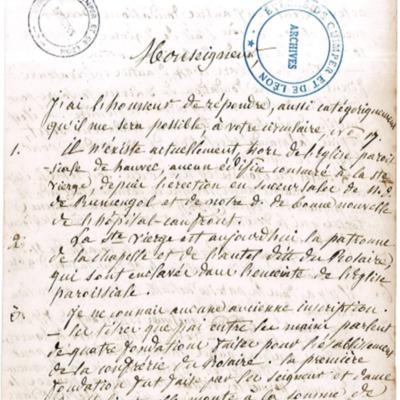 Enquête diocésaine sur le culte marial de 1856 : réponse de la paroisse d'Hanvec