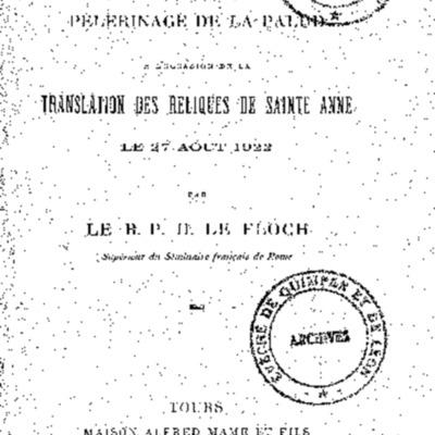 Discours prononcé au pèlerinage de la Palud à l'occasion de la translation des reliques de sainte Anne le 27 aout 1922