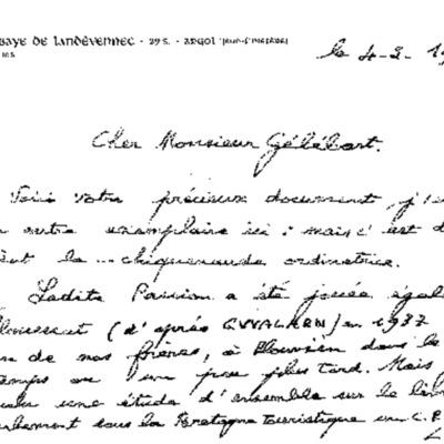 Lettre accompagnant le livret Passion, du Père Grégoire, bibliothécaire de Landévennec, au P. Gélébart, archiviste diocésain (1972).