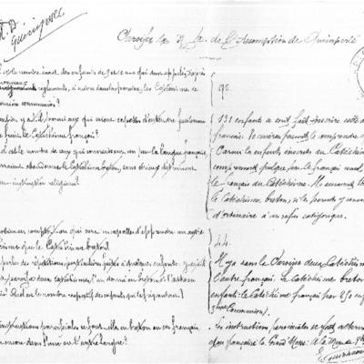 Enquête diocésaine sur l'usage du breton dans la prédication et l'enseignement du catéchisme : réponse du doyenné de Quimperlé à l'évêque de Quimper et Léon.